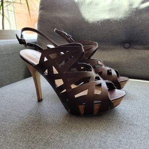Marc Fisher brown strap heel sandal